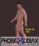 รูปร่างผู้ชายที่มีเปอร์เซนต์ไขมันในร่างกาย (Body Fat %) 30%